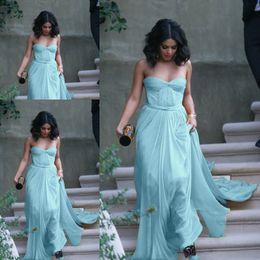 Fast Shipping Light Blue Vestidos de Noiva Prom Gowns Sweetheart Pleats Long Chiffon Celebrity Gowns Evening Dresses