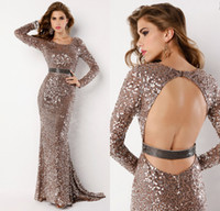 Wholesale 2014 Hot sale exclusive style combination of sexy and drop dead gorgeous Hand beaded shimmery blush sequins long sleeve Open back Prom Dress