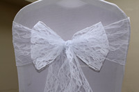 Wedding Lace  20pcs White Lace Chair Sashes for wedding Event &Party Decoration Chair Cover Sash