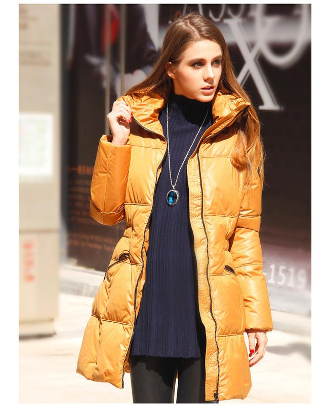 Designer Down Coats Women Enclose Collar Long Down Coats Silk ...