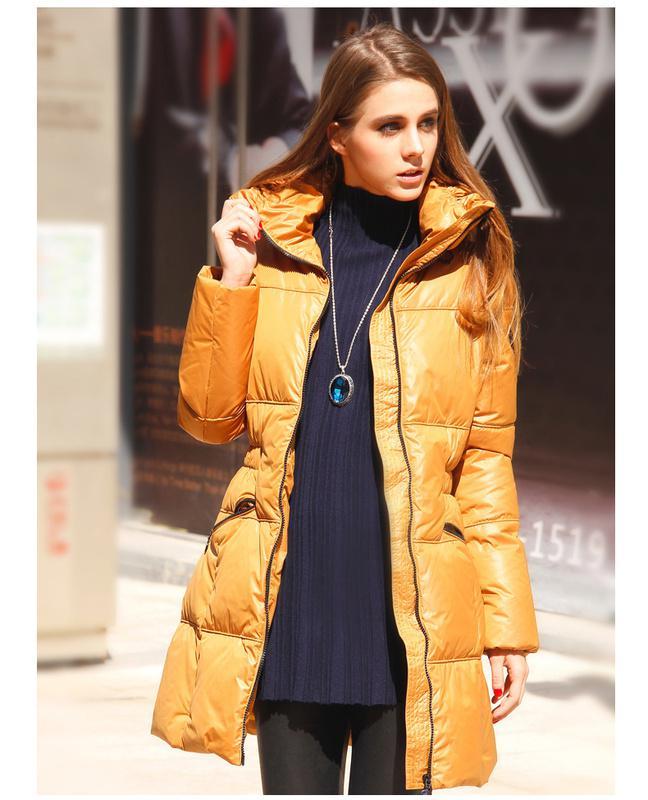 Designer Down Coats Women Enclose Collar Long Down Coats Silk ...