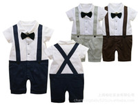 Boy Spring / Autumn 100% Cotton Summer Classic Baby Boy Girl's Romper Infant Gentleman Suspender Short Sleeves Bow Tie Romper Kids One-piece Clothes