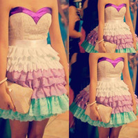 Cheap Fashion Teen Sexy Multi Colors Sweetheart Mini Short Lace Prom Dress Party Dress 2014 Free Shipping WH406