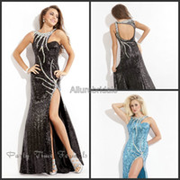 Wholesale 2014 Bateau Neck Sequin Evening Dress High Leg Slit Pageant Party Gowns Backless Floor Length Sky Blue Black Party Dresses Sheath Prom Party