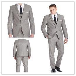 Wholesale 2014 top quality s wool light grey three pieces suit jackets pants vest wedding suits for men CTD026