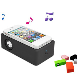 Wholesale Magic Boose induction Cube Audio Interaction Speaker NEAR FIELD Amplify Wireless Boost For Smart Cell Phone Samsung APPLE iPhone S S C