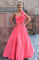 Wholesale 2014 NEW Sexy Evening Dresses One Shoulder A line Floor Length Handmade Flower Prom Dresses SI02