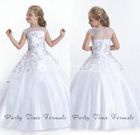 Wholesale 2014 New Arrive Crystal Bead Bateau Cap Sleeve White Little Girl s Pageant Dresses Taffeta Gorgeous Flower Girl Dress Birthday Party Gowns