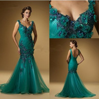 V-Neck apple sku - 2015 Formal Evening Gown With Dark Green Organza Mermaid Prom Party Dresses V Neck Zipper Back Appliques Piping Ankle Length Sku E003