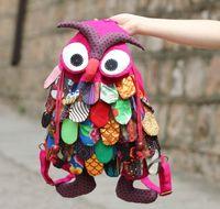 Wholesale OWl style colorful bag Modern Vintage color owl packbag free choose cm