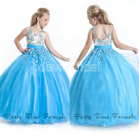 Reference Images Girl Crystal  Custom Made Exquisite Applique Cap Sleeve Light Blue Little Girl Pageant Dresses 2014 Hot Flower Girl Dress Birthday Party Gowns