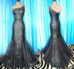 Wholesale Formal Prom Dresses Evening Gown With Dark Color Mermaid One Shoulder Zipper Back Crystal Sequins Sweep Train Party Dress Sku E006