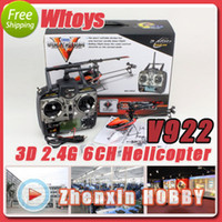 Wholesale WLtoys V922 CH G Single Blade Gyro RC Mini Flybarless Helicopter With LCD Batteries RTF Outdoor