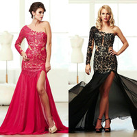 Wholesale Sexy One Shoulder Evening Dress with Lace Appliques Side Slit Mac Duggal Red Black Chiffon Formal Long Mermaid Prom Party Evening Gowns