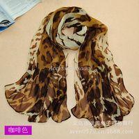 Wholesale Georgette silk chiffon leopard print scarf scarves Yiwu upscale market selling scarves XQ019