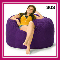 Wholesale Top grade Suede Giant Bean Bag Chairs With Footstool Large inch