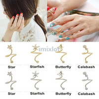Band Rings South American Unisex 16X New Fashion Korean Rhinestone Starfish Butterfly Flower Spiral Opening Midi Finger nail Rings Jewelry [JR14117-JR14120]