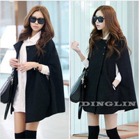 Wholesale Korean Women Ladies Batwing Wool Oversized Casual Poncho Winter Coat Jacket Loose Cloak Cape Outwear Black S