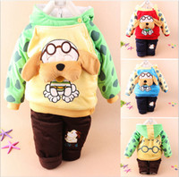Unisex Winter Long Two-Piece Suit Dog Cartoon baby clothes cotton baby clothes high quality infant clothes soft and comfortable for boys and girls free shiping