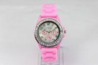 Wholesale 300pcs numbers have Geneva logo watch diamond Watch Women s Men s watch lady watch brand logo watch Three eye watches
