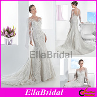 Trumpet/Mermaid Reference Images Jewel 2014 New Arrival Sheer Transparent Lace Long Sleeves Beaded Sequin Mermaid Wedding Dresses Bridal Gowns with Covered Button Demetrios 1468