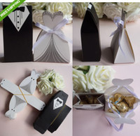Favor Boxes Black Paper Tuxedo Dress Groom Bridal Wedding Party Favor Gift Ribbon Candy Boxes