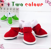 Wholesale Two colours Red Pet Dog Shoes Puppy Cozy Boot Cute Chrismas Santa Puppy Pet Apparel Sizes