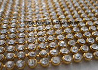 Wholesale cm inch long Rows width Diamond Ribbon Trim with mm clear Stones on Gold settings Rhinestone Crystal Bling trim