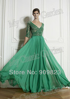 Reference Images V-Neck Organza Arab Zuhair Murad V Neck 3 4 Long Sequins Top Sleeves Ruffles Chiffon A Line Full Length Evening Gowns Dresses