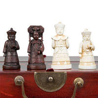 Unisex chess - China Qing Dynasty Army style Pieces Chess Set amp Leather Wood Box AAA
