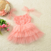 Wholesale 2014 Summer Baby Girl Dress Sleeveless Tutu Dresses Baby Kids Princess Lace Dress Children Rose Cake Dresses Chiffon Color
