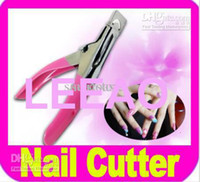 Wholesale Lowest Price Way Acrylic UV Gel False Nail Tip Clipper Cutter Edge Cutter Tips Pink Free FEDEX Shipping