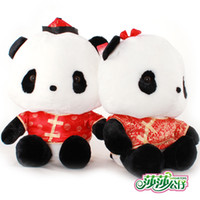 Wholesale Plush toy doll wedding tang suit lovers panda extra large wedding gifts