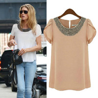 Wholesale EU New fashion women Loose Big size chiffon casual vintage Blouses Beading O neck Pullover summer