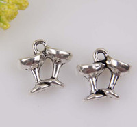wine glass charm - Hot Antiqued Silver Zinc Alloy Champagne Wine Glasses Charms Pendants x11 mm b202