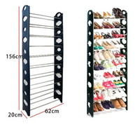 Wholesale 10 layers DIY combination shoe rack with dust cover blue