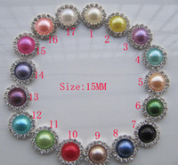 achat en gros de mélange strass plat-Livraison gratuite Vente en gros 100pcs / lot Mixed Color 15mm Flat Back Round Rhinestone Peal Button For Hair Flower Wedding Invitation