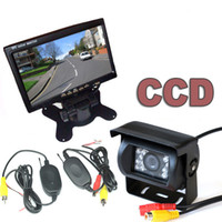 "Car Camera   WIRELESS CAR REAR VIEW KIT 7"" LCD MONITOR+IR REVERSING CAMERA 18LED CCD"