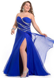 Wholesale Plus Size Beads Ruffle Royal Blue Organza Sweetheart Prom Dress Evening Dresses Wedding Gown RL1180