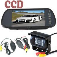"Car Camera   18 IR LED CCD Wireless Reversing Camera + 7"" LCD Monitor Mirror Car Rear View Kit"