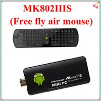 Wholesale Free Gift RC11 Rikomagic MK802 IIIS Mini PC Bluetooth Fly Air Mouse Remote Control android tv box GB RAM G ROM HDMI