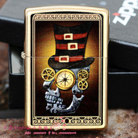 Wholesale Kerosene lighter metal Lighters reinforcement Pure copper industrial age skull steampunk wind