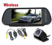 "Cheap IR LED Night Vision Wireless Reverse Camera 170 degree + 7"" LCD Monitor Mirror Car Rear View Kit"