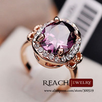 Wholesale K8023 Fashion K Rose Gold Plated Purple Big Zircon Stone Rings For Women Engagement Jewelry Gift