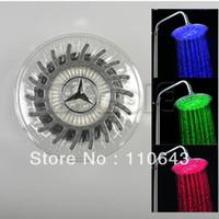 LED Shower Heads Nickle 2341# Round Rain Overhead LED Light Shower Head Bathroom Bath Glow 3 Colors Temperature Sensor A3 2341