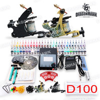 Wholesale USA Storage Beginner Complete Tattoo Kits Equipment Machines Gun Inks Disposable Needles Power Supply Beginner Tattoo Kits DHL