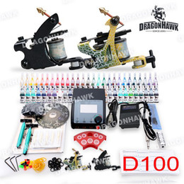 Wholesale USA Storage Beginner Cheap Tattoo starter Kits Machines Ink Sets Disposable Needle Power Supply grips D100DH