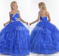 Wholesale Hot Sale Crystal Bead Applique One Shoulder Sheer Long Sleeve Lovely Little Girl Pageant Dresses Cascading Ruffle Flower Girl Dress Organza