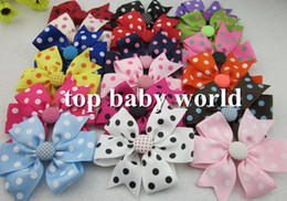 Wholesale 50pcs baby polka dot ribbon bows WITHCLIP with button Baby Boutique hair bows Hairclips Girls hair accessories hair pins