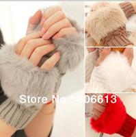 Wholesale Fashion Winter Arm Warmer Fingerless Gloves Knitted Fur Trim Gloves Mitten pairs